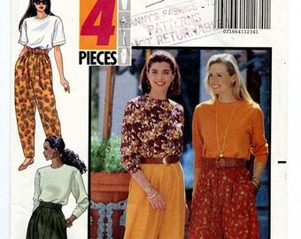 Vintage 90s Butterick 5657 Women's Tapered Loose Fit High Waist Drop Crotch Pants UNCUT Sewing Pattern Sizes XS S M Waist 23 to 26.5