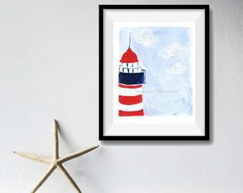 The Lighthouse Art Print, lighthouse print, nautical art, coastal stile, beach cottage, nursery art, Blue sky, Red, minimalist landscape