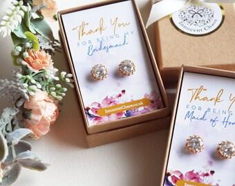 Rhinestone earring, bridesmaid earring, Gold Crystal Stud, Bridesmaid jewellery, rhinestone stud earring, gold earring, thank you gift