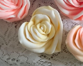 HEART ROSE Soap, Victorian Yellow Rose with White Tip, Yellow and White,Mothers Day, Easter, Spring,Summer,Floral Bouquet
