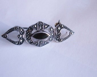 Sterlng 925  Marcasite Jet  Crystal  Brooch