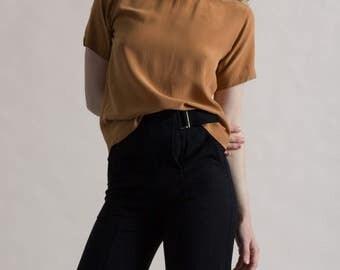 Vintage 90s Rust Silk Lattice Blouse / Short Sleeve Shirt / XS Top