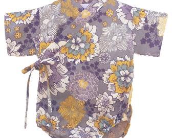 Kimono Onesie - GOLDEN HEATHER  - Japanese inspired baby outfit kimono bodysuit for girls