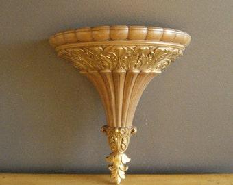 Golden Wall Pocket - Large Vintage Ornate Display Pocket or Shelf