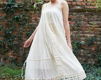 Plus Size Dress, Boho Maxi Dress, Women Ivory Dress, Strap Dress, Long Dress, Draped Dress, Beach Dress, Cotton Dress, Oversized Dress