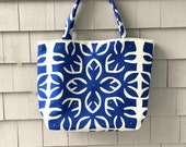 Moroccan inspired tote, medallion tote, tile inspired tote, royal blue tote, spring tote, blue green tote, tote with pockets, one of a kind
