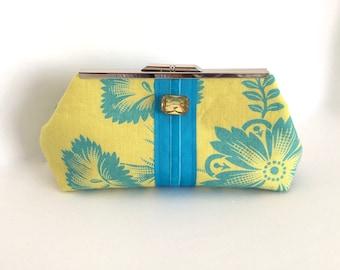 Yellow clutch, linen clutch, floral clutch, tropical clutch, resort clutch, summer clutch, island blue, optional glass jewel, one of a kind