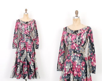 Vintage 1960s Dress / 60s Rose Print Lamé Party Dress / Pink and Grey ( extra small XS )