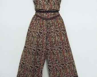 vintage 1970s Indian Cotton PANTSUIT, METALLIC THREAD printed hippie festival dress, size l - xl