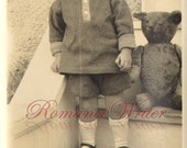Precious Young Boy Short Pants Black Shoes Large Teddy Bear Vintage Photograph