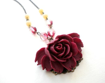 Burgundy Necklace Rose Necklace Rosary Long Necklace Romantic Jewelry Maroon Necklace Rose Flower Necklace Burgundy Jewelry Gift For Her