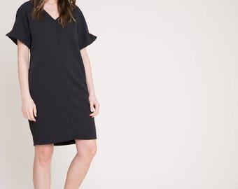 NEW Oversize Dress / Unique Dress / Black Dress / Loose Dress / Casual Dress / Business Casual Dress / Marcellamoda - MD826