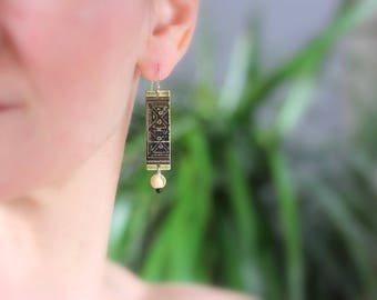 Congo Square Etched Brass New Orleans Jewelry - Earrings from Historical Map