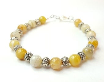 Yellow and Silver Beaded Bracelet - Yellow Bridal Bracelet - Beaded Bracelet for Her - Gemstone Beaded Bracelet for Women - Modern Bracelet