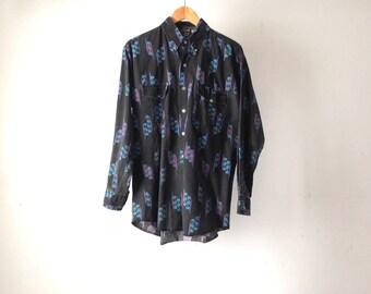 vintage rainbow NAVAJO IKAT southwestern 90s COTTON shirt