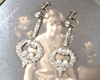 Antique Art Deco/Nouveau 1930 Dangle Earrings French Paste Rhinestone Bridal Earrings Gatsby Flapper Jewelry Vintage Wedding Screw Back
