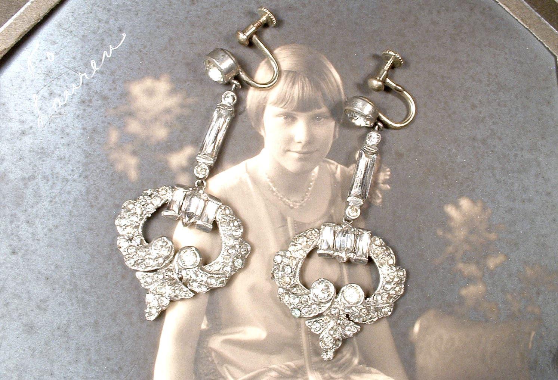 Nouveau 1930 Dangle Earrings French Paste Rhinestone  Bridal Earrings Gatsby Flapper Jewelry