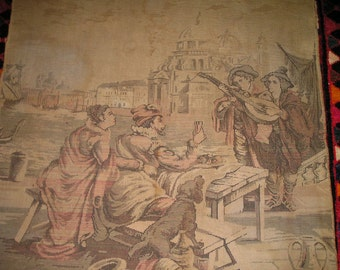 "Vintage Mediaval Gobelin. Harbour Bar/Cafe Drinking scene w/Woman,Man Dog and Musicians 38"" x 35"" Fab. Tapestry"