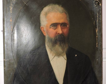 Antique Shabby VICTORIAN GENTLEMAN Long Beard & Spectacles Suit Oil PAINTING c1870-80s
