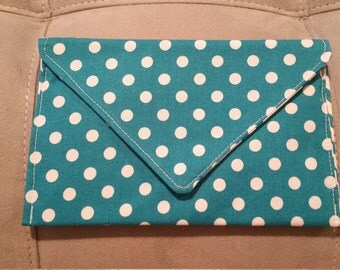 Teal with Large White Polka Dots Clutch Purse