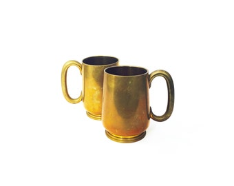 Vintage Brass Mugs / Pair