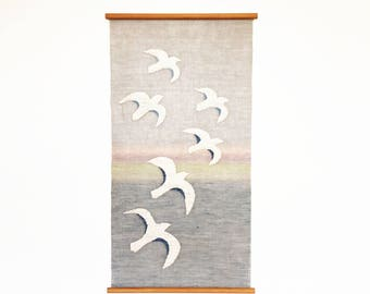 Mid Century Woven Seagull Wall Hanging / Finland