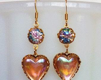 Candy Hearts // Iridescent Pink Vintage AB Crystal Heart Dangle Earrings, 1950s Rainbow Lolita Pinup VLV Pastelgoth Boho Art Deco Kawaii Fun