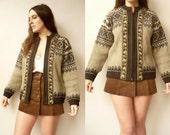 Vintage Wool Genuine Norwegian Nordic Fairisle Cardigan Size Medium