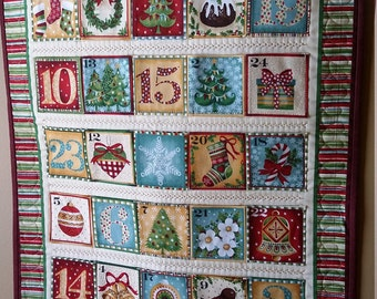 Country Christmas advent calendar, quilted wall decor, heirloom advent calendar, children's activity, ,Quiltsy Handmade
