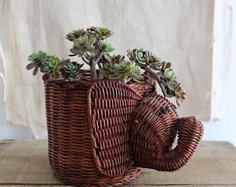 Vintage Wicker Elephant Planter Basket