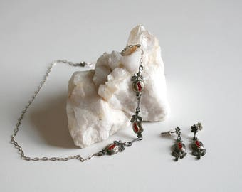 Rococo Revival Pomegranate Necklace and Earrings