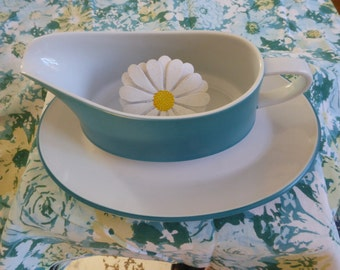 Contempo Frost Turquoise Gravy Boat with Underplate / Mid-Century Modern Tableware / Contempo Fros/ Vintage Contempo Frost / Japan.