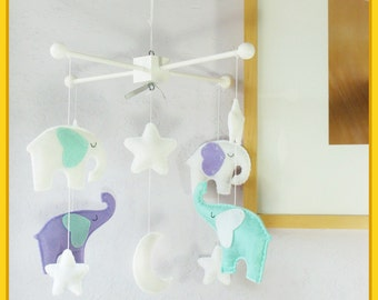 Elephant Mobile, Baby Mobile, Baby Crib Mobile, Baby Girl Mobile, Elephant and Moon Star Cot Mobile, Turquoise Green Lavender Purple White