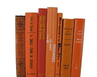 Orange Decorative Books, Vintage Wedding Decor , Vintage Book Decor , Home Decor , Photo Prop , Bookshelf Decor