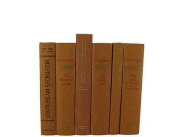 Vintage Books in  Shades of  Gold Decorative Books Old Books , Yellow Wedding Decor, Book Home Decor