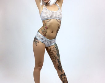 90's White Fishnet and Silver Edging Booty Gogo Rave Shorts and Cross back Halter Set // S - M