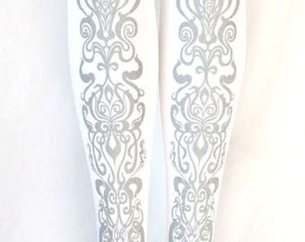 Art Nouveau Tights Silver on White Women Mucha Style Dolly Kei Steampunk Lolita Small Medium