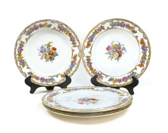 Dresden Dinner Plates - SET of 4, Gold Filigree Plates, Royal Bayreuth Plates, Bavarian China, Antique Floral Plates, c1920s