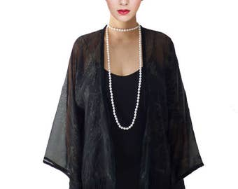 Kimono Flapper Jacket Floral Black Satin Gold Lace Cardigan Boho festival Cape Fringes short kimono Artistic Outerwear Tassel High Fashion
