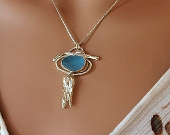 Cornflower Blue Sea Glass Waterfall Necklace Fine Silver and Argentium Silver Jewelry
