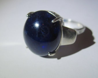 Extra Large Semisphere Natural Dark Blue Sapphire In Filigree Sterling Silver Cocktail Ring, 19.78ct. Size 7