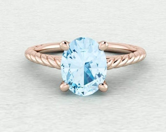9x7mm Oval Cut Sky Blue Topaz Twisted Rope Solitaire Engagement Ring LCDS034