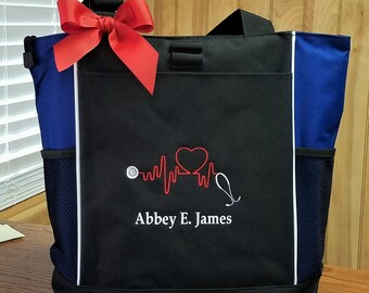 Tote Bag Personalized Tote Medical Technician Heartbeat Stethoscope