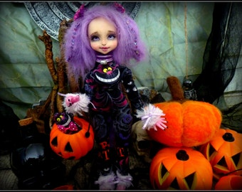 Le Chat du Cheshire, dollbear (poupée de collection) Léna Twilight Soul, résine ns et rose.