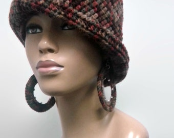 MADE TO ORDER Earth Tones Cloche/Flapper Hat/Great Gatsby hat with shapeable brim Spice Brown Taupe Green and free crochet beaded earrings