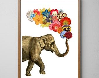 Elephant A3 flower white art, Spring celebration Elephant art,Nursery art, Wall decor , Giclee elephant poster ANI091WA3