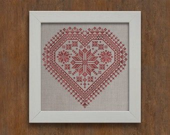INSTANT DOWNLOAD Nordic Heart Valentine's Day PDF cross stitch patterns by Modern Folk at thecottageneedle.com monochromatic