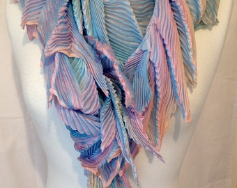 Arashi shibori hand pleated, hand dyed silk scarf - Dragon-tail Seabreeze, OOAK, wearable art