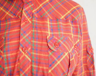 Vintage 70s Plaid Shirt, 1970s Button Up Shirt, Red, Peter Pan Collar, Western, Long Sleeve