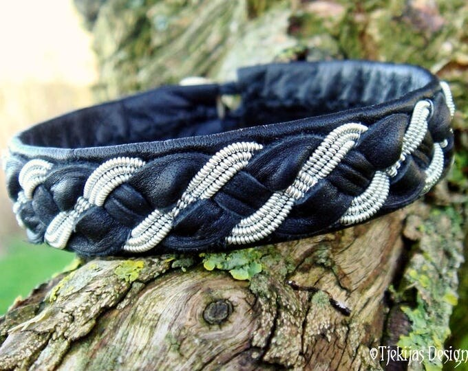 Handmade Black Leather and Pewter Bracelet Cuff for real Vikings FENRIS WOLF Traditional Sami Folklore Jewelry in Your Size and Color